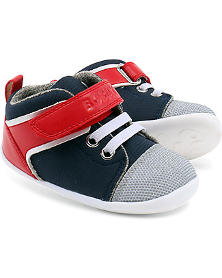 Bobux Step-Up Beat Hi-Top, Navy + Red - Ultra flexible, perfect for first steps! Shoes