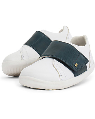 Bobux Step-Up Boston Shoe, White/Navy - Ultra flexible, perfect for first steps! Shoes