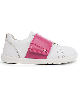 Bobux Step-Up Boston Shoe, White/Pink - Ultra flexible, perfect for first steps! Shoes