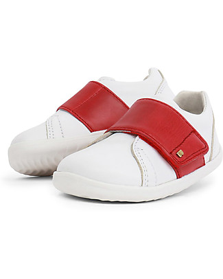 Bobux Step-Up Boston Shoe, White/Red - Ultra flexible, perfect for first steps! Shoes