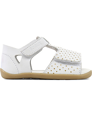 Bobux Step-Up Classic Mirror Sandal, White/Gold - Ultra flexible, perfect for first steps! Shoes