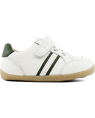 Bobux Step-Up Classic Trackside Sport Shoe, White/Army - Ultra flexible, perfect for first steps! Shoes