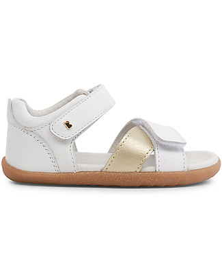Bobux Step-Up Sail Sandal, White/Gold - Ultra flexible, perfect for first steps! Special Occasion