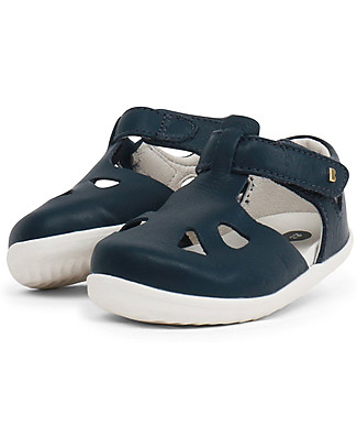Bobux Step-Up Zap Sandal, Navy Blue - Ultra flexible, perfect for first steps! Shoes