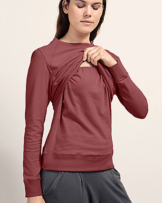Boob B-warmer Maternity and Nursing Sweatshirt, Pompei Red - Ultra-soft fleece lining! Sweatshirts