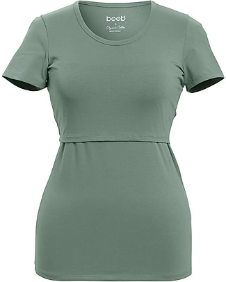 Boob Classic Maternity and Nursing Short-Sleeved Top, Green Surf - Organic cotton Evening Tops