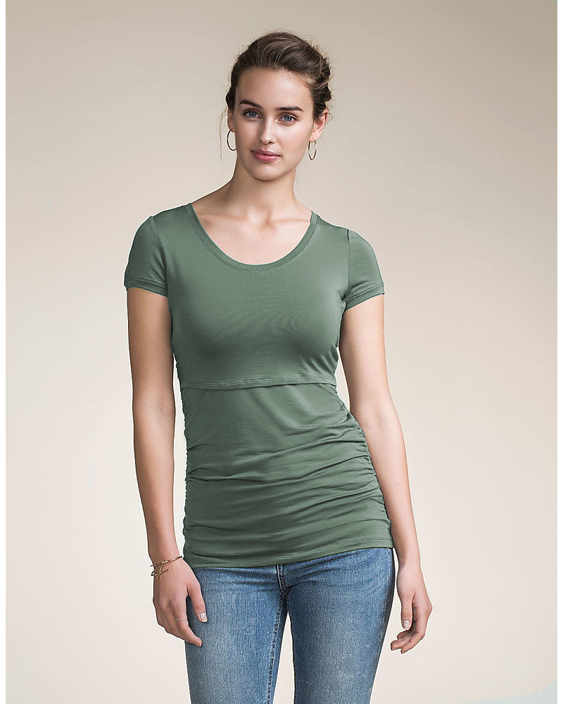 5fc92de414b34 Boob Classic Maternity and Nursing Short-Sleeved Top, Green Surf - Organic  cotton Evening