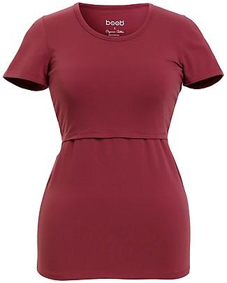 Boob Classic Maternity and Nursing Short-Sleeved Top, Soft Cherry - Organic cotton Evening Tops