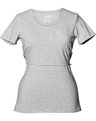 Boob Classic Short-sleeved Maternity and Nursing Top, Grey Melange - Organic cotton Evening Tops