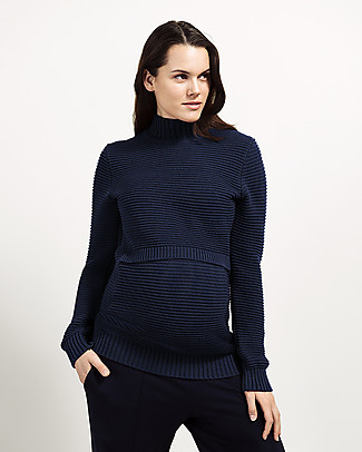 Boob Elisa, Maternity and Nursing Rib Knitted Sweater - Midnight Blue null