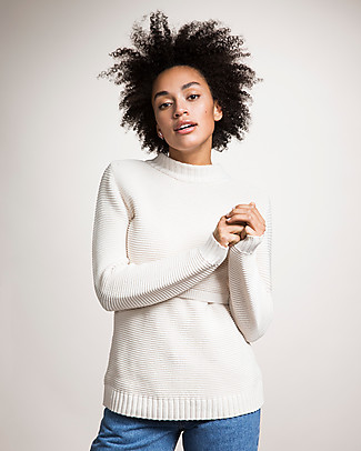 Boob Ellen, Maternity and Nursing Organic Cotton Rib Sweater - Off White Jumpers