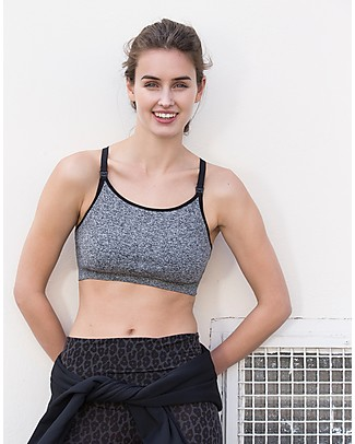 Boob Fast Food Soft Sports Nursing and Breastfeeding Bra, Dark Grey Melange - Sustainable choice! Bras