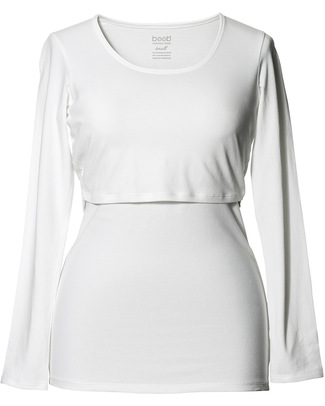 Boob Long-sleeved Maternity & Nursing Top - White - organic cotton (patented breast-feeding opening) Long Sleeves Tops