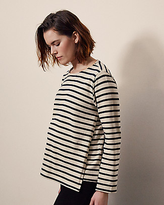 Boob Long-sleeved Maternity and Nursing Breton Top, Tofu/Midnight Blue - 100% Organic cotton Evening Tops