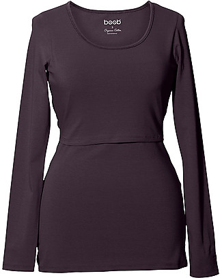 Boob Long-sleeved Maternity and Nursing Classic Top, Cassis - Organic cotton Evening Tops