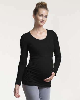 Boob Long-sleeved Ruched Maternity & Nursing Top - Black - soft eucalyptus fabric (patented breast-feeding opening) Long Sleeves Tops