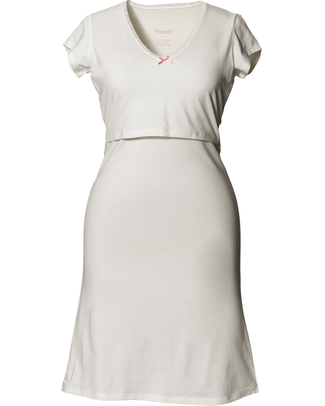 Boob Maternity & Nursing Nightdress - Ivory White - organic cotton Nightdress