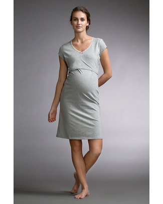 Boob Maternity & Nursing Nightdress - Pale Grey Marl - organic cotton Nightdress