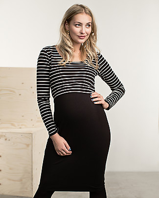 Boob Maternity and Nursing Dress Simone 50/50 - Black & White Stripes Dresses