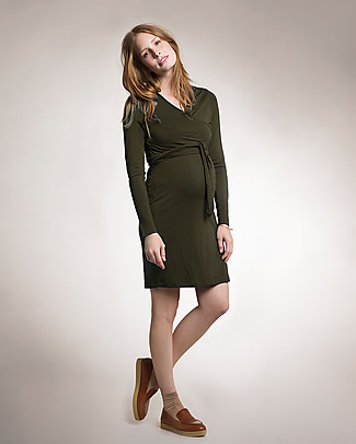 Boob Maternity and Nursing Dress Wrap in Soft and Natural Eucalyptus Fiber - olive green Dresses
