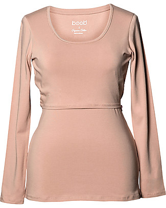 Boob Maternity and Nursing Organic Cotton Top Long Sleeve - Powder Beige Long Sleeves Tops