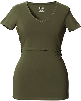 Boob Maternity and Nursing V Neck Short Sleeve Top, Burnt Olive - Organic Cotton T-Shirts And Vests