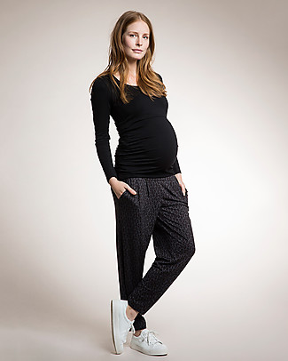 Boob Maternity Once on Never Off Harem Pants, Black/Leo Grey - Soft eucalyptus fabric Trousers