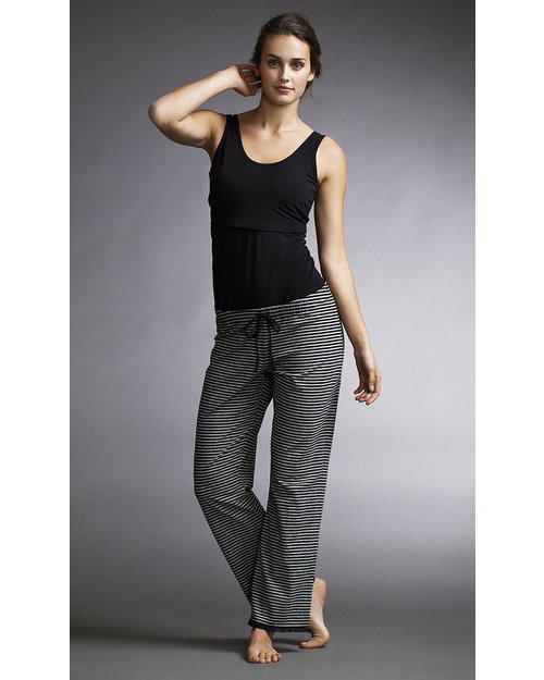 Boob Maternity Pyjama Pants - Pale Grey and Black stripes - organic cotton Pyjamas