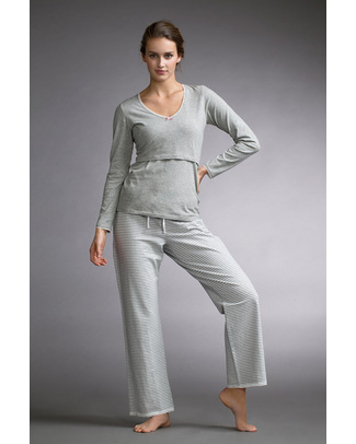 Boob Maternity Pyjama Pants - Pale Grey and Ivory white stripes - organic cotton Pyjamas