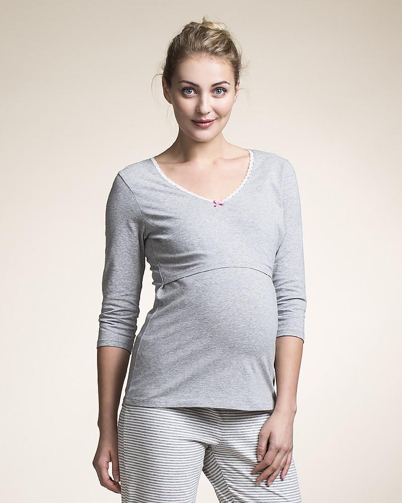 28a260c983532 Boob Maternty and Nursing Pajama Top 3/4 Sleeve - Grey Melange Organic  Cotton Pyjamas