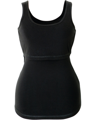 Boob Nursing Singlet - Black T-Shirts And Vests