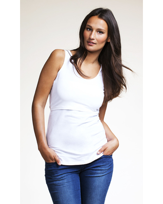 Boob Nursing Singlet - White T-Shirts And Vests