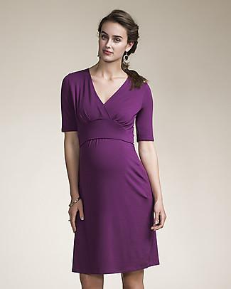 Boob Short Sleeve Sophia  Maternity & Nursing Dress, Purple - Soft eucalyptus fabric Dresses