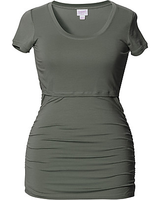 Boob Short-sleeved Ruched Maternity & Nursing Top, Khaki - Soft eucalyptus fabric T-Shirts And Vests