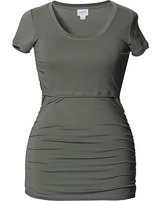 Boob Short-sleeved Ruched Maternity & Nursing Top, Khaki - Soft eucalyptus fabric T-Shirts And Vests