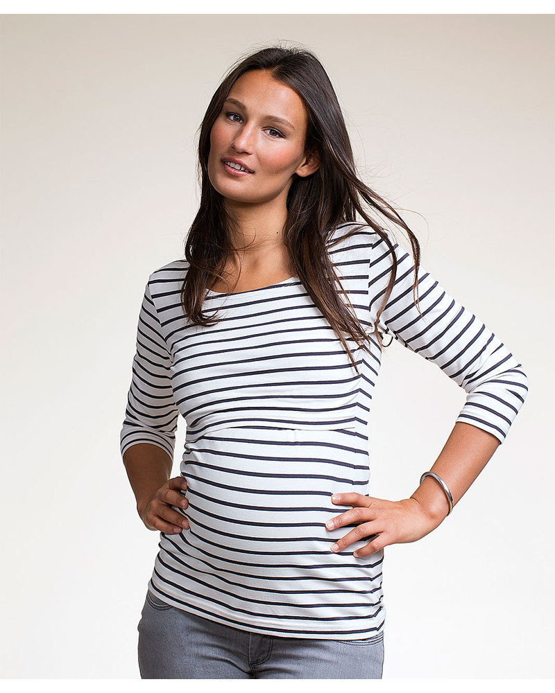 6a416087675e4 Boob Simone Maternity   Nursing Top - Organic Cotton - Black stripes on White  Long Sleeves