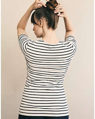 Boob Simone, Maternity & Nursing Short Sleeves Top - Off White and Blue Stripes - Organic cotton T-Shirts And Vests