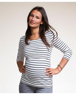 Boob Simone Maternity & Nursing Top - Organic Cotton - Black stripes on White Long Sleeves Tops