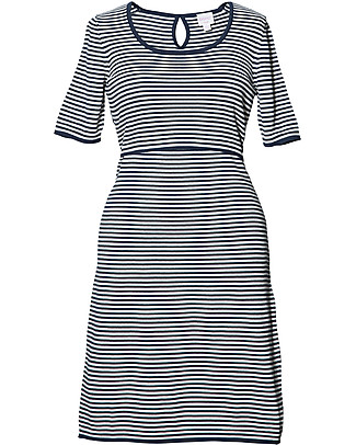 Boob Striped Knitted Maternity & Nursing Dress, Navy Blue - Organic Cotton Dresses