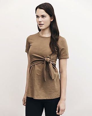 Boob Suki Maternity and Nursing Top wth Knot, Brown Sugar - Organic cotton Evening Tops