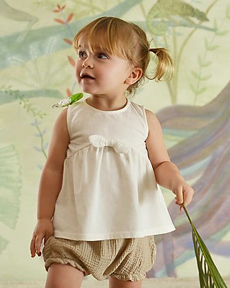 Botanica Boo Top for Girls with Bow, Cream - Organic Cotton Special Occasion