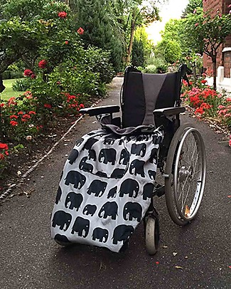 BundleBean Adult Wheelchair Cosy, Universal Waterproof - Grey Elephant Stroller Accessories
