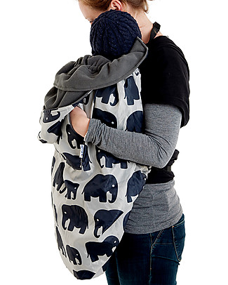 BundleBean Babywearing Fleece-lined all-weather cover - Grey Elephant Baby Slings