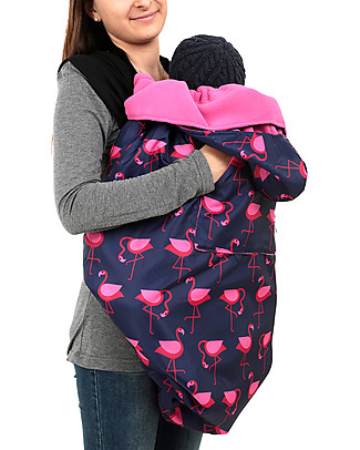BundleBean Babywearing Fleece-lined all-weather cover - Navy Flamingo Baby Slings