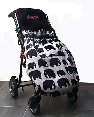 BundleBean Child Wheelchair Cosy, Universal Waterproof - Grey Elephant Stroller Accessories