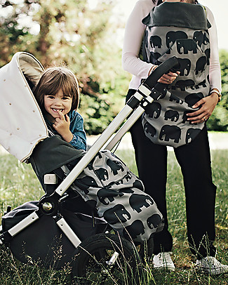 BundleBean GO - Universal Waterproof 5-in-1 Footmuff - Grey Elephant Stroller Accessories