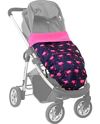 BundleBean GO - Universal Waterproof 5-in-1 Footmuff - Navy Flamingo Stroller Accessories