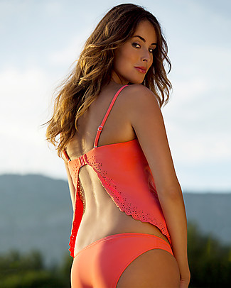 Cache Coeur Bloom, Maternity Tankini Swimsuit - Coral Swimsuits