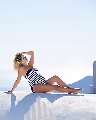 Cache Coeur Marina, Maternity Tankini Swimsuit - Blue and White stripes Swimsuits