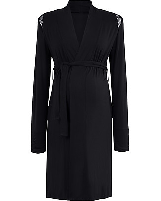 Cache Coeur Serenity Maternity & Nursing Robe, Black - Soft bamboo fabric! Robes